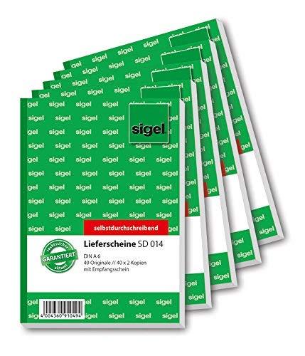 Entrega Sigel SD014 señala 3 veces impresa recibo, primera, segunda y tercera hoja, A6, 3x40 hoja, presión, 5-pack sensibles