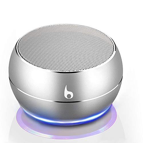 OKE Mini Bluetooth Lautsprecher, Kabellos Tragbar Bluetooth Musikbox, Stereo Klang mit tiefem Bass, Metal Gehäuse (Silber)