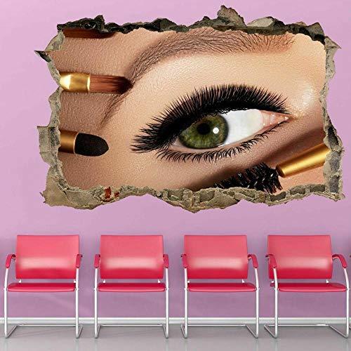 QULIN 3D Look Wandtattoo Wimpern Mascara Pinsel Salon Wandkunst Aufkleber Wandtattoo