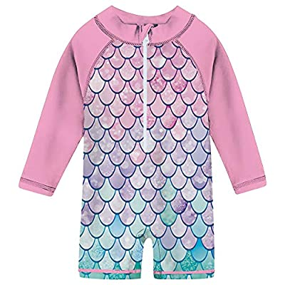 TUPOMAS Baby Girl Rash Guard Swimwear Shirt UPF 50+ Baby Infant Mermaid Swimsuit Long Sleeve Zipper Baby Girl Sunsuits Toddler One Piece Bathing Suit 18-24 Months