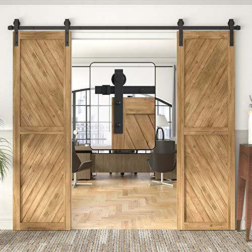 "WINSOON 5-18FT Sliding Barn Wood Door Hardware Cabinet Closet Kit Antique Style for Double Doors Black Surface (9FT /108"" 2 Doors Track Kit)"