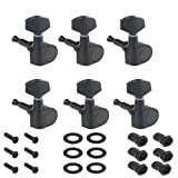 Musiclily 6-in-line Sealed Electric Guitar String Tuning Pegs Keys Machine Head Tuners Set Right Hand for Fender Strat Stratocaster Tele Telecaster Guitar, Black