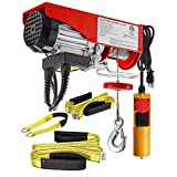 (Bundle Items) Partsam 220 lbs Lift Electric Hoist Crane Remote Control Overhead Crane Garage Ceiling Pulley Winch Bundled with Towing Strap 5.5Feet x 2inch (w/Emergency Stop Switch)