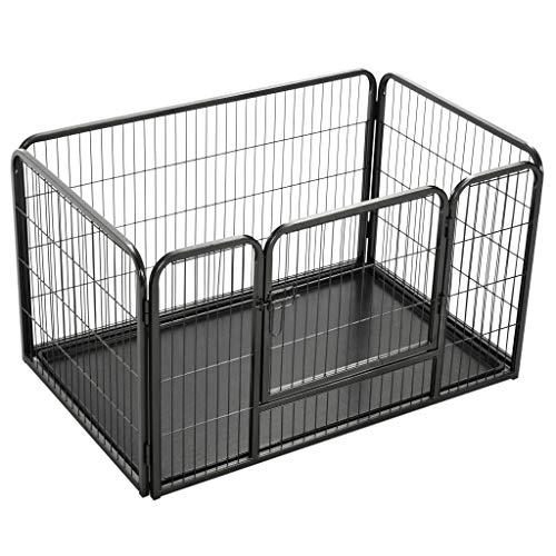 SHUJUNKAIN Corral para Perros Cachorros Acero 125x80x70 cm Productos para Mascotas Productos para Mascotas Productos para Perros Casetas y cercados para Perros Negro