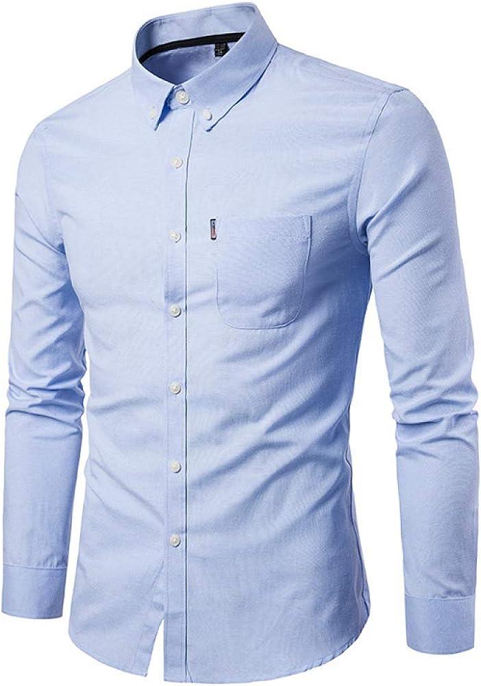 Men's Shirt Solid Color Slim Fit Plus Size Casual Fashion Long Sleeve