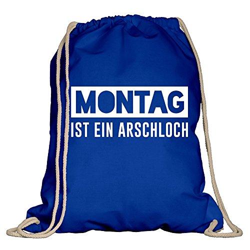 shirtdepartment Turnbeutel - Montag ist EIN Arschloch - von Shirt Department, Royalblau-Weiss