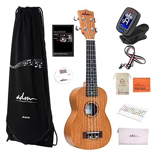 ADM Soprano Ukulele Beginner Kit Mahogany Hawaiian Wood 21 Inch Ukelele Bundle Ukalalee Set with Uke Free Starter Lessons for kids Students and Adults, Yellow Brown