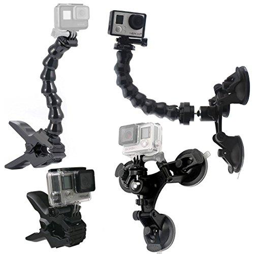 GreatCool Auto Saugnapf Kamera Halterung Stativ Tri-Cup+Jaws Flex Klemmhalterung Cliphalterung + Verstellbarer Schwanenhals Arm Flexarm Einfassung Zubehör Bundle Kits für GoPro Fusion Action cam