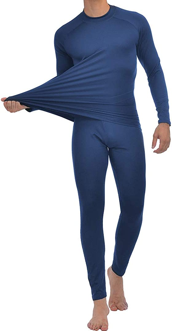 Men's Thermal Underwear Fleece Lined Long John Set Base Layer Top and Bottom