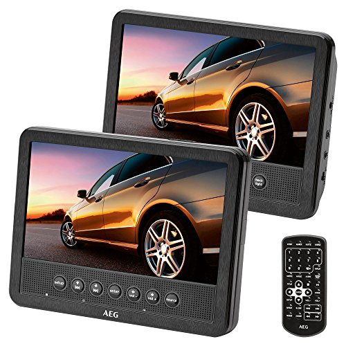 AEG portabler DVD-Player DVD 4555,  2X 17,8 cm (7 Zoll) LCD-Monitor, USB-Port, Card Slot, Fernbedienung, schwarz