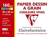 Clairefontaine 96770C Etival Color pochette 12F 24x32cm 160g à grain Assortiment Vif