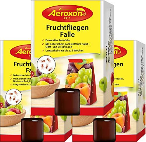 Aeroxon - Fruchtfliegenfalle - 3 Stück - Mittel um Fruchtfliegen zu bekämpfen - Geeignet für die Küche