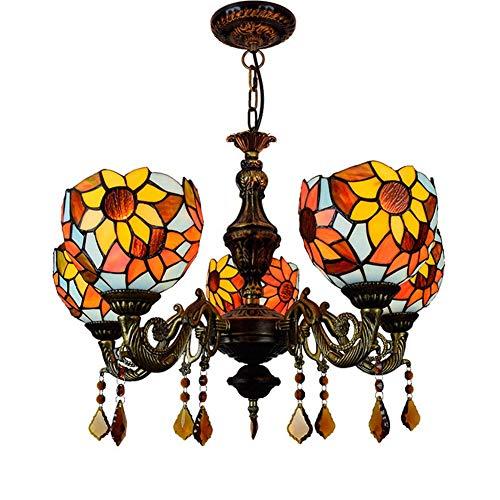 Luminaria colgante de techo 24 pulgadas y 5 jefes de la lámpara de cristal de Tiffany Red Dragonfly lámpara colgante restaurante Colgando Light Cafe Bar Sala de estar luz colgante