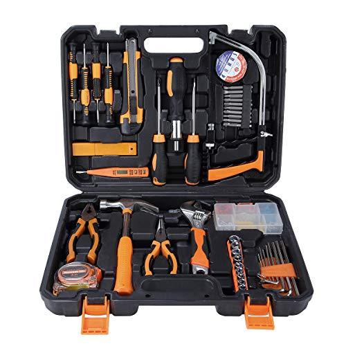 SOLUDE Heimreparatur-Werkzeug-Sets, 95 Teile Bügelsäge, allgemeine Haushalts-Handwerkzeug-Kits mit Kunststoff-Werkzeugkoffer.