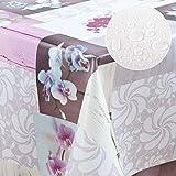 laro Wachstuch-Tischdecke Abwaschbar Garten-Tischdecke Wachstischdecke PVC Plastik-Tischdecken Eckig Meterware Wasserabweisend Abwischbar GAC, Größe:80x80 cm, Muster:Orchidee - 3