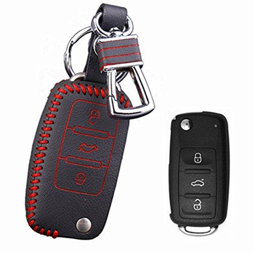 Happyit Étui en Cuir de Voiture pour Volkswagen Jetta Golf Passat Beetle Polo Bora 3 Et Autre étui (Rouge)