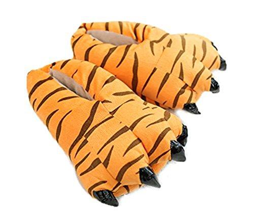 Minetom Pyjama Jumpsuit Tieroutfit Tierkostüme Schlafanzug Tiger Cosplay Sleepsuit mit Kapuze Erwachsene Unisex Lounge Fleece-Overall Kostüm Weiche Hausschuhe Bärentatze (Tiger 2 EU M)
