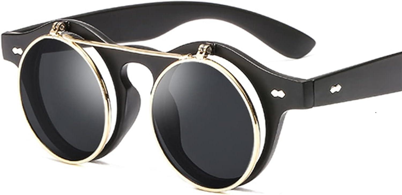FDNFG Gafas de Sol Retro Steampunk Gafas de Sol Hombres Mujeres Diseñador Redondo Metal Steam Punk Shields UV400 Gafas de Sol Hembra Gafas de Sol (Lenses Color : Sand Black)