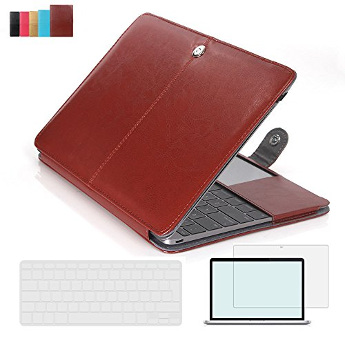 RYGOU 3 in 1 Leather Sleeve Case with Keyboard Cover and Screen Protector for Macbook Pro 15 inch with Retina Display Model:A1398