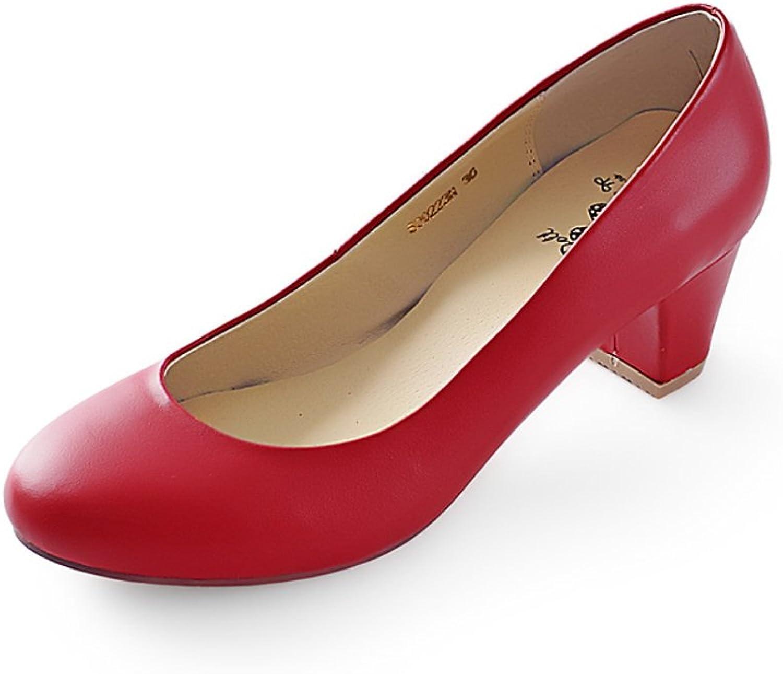 WLJSLLZYQ Autumn Fashion shoes Bold Wedding shoes Kitten Heel Low-Cut Women shoes Large Size shoes