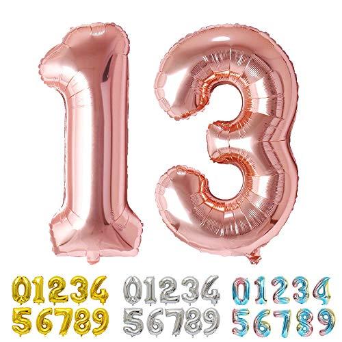 Ponmoo Rosegold Luftballon Zahlen 13 / 31 0 1 2 3 4 5 6 7 8 9 10 to 30 40 50 60 Riesige Folienballon Zahl Geburtstagsdeko, Deko zum Geburtstag Folienluftballons Dekoration Birthday Heliumdeloono