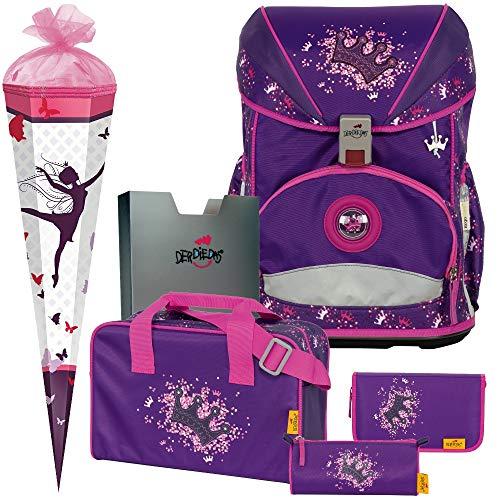Purple Princess - Prinzessin - DerDieDas ErgoFlex Superlight Schulranzen-Set 6tlg. - SCHULTÜTE GRATIS DAZU