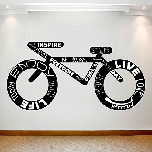 Calcomanía grande Bicicleta creativa Cultura deportiva Citas inspiradoras Vinilo Etiqueta de la pared Arte Dormitorio extraíble Habitación de niño Decoración para el hogar Arte mural cartel
