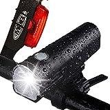 Set Luci Bici GlareFX Pro800 Ricaricabile USB - Potente Luce Anteriore per Bicicletta & Luce Posteriore a LED – 800 Lumen Super Luminosa Impermeabile IPX6 - Fanale Anteriore e Posteriore MTB