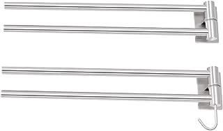 WEHOLY Towel Rack Punch-Free Double-Arm Towel Bar Storage Rack, 304 Stainless Steel Rotating Bathroom/Kitchen Bracket, 180deg; Rotation, Multi-Function Hook, Silent Damping