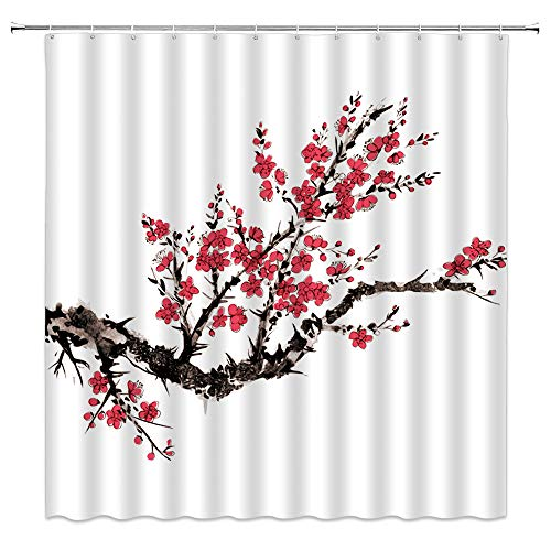 WZFashion Cherry Blossom Shower Curtain Japanese Ink Painting Red Blooming Sakura Branches Flower Classic Asian Watercolor Floral Oriental Artwork Fabric Bathroom Curtain Set 70x70 Inch with Hooks