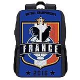 Euro 2016 Fußball Frankreich Schild Blau Rucksack Daypack Bookbag Laptop Schultasche mit USB-Ladeanschluss