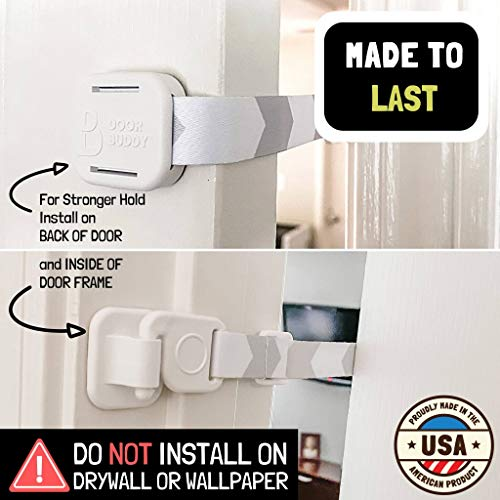 Door Buddy Baby Proof Door Lock with Adjustable Strap (Grey). No Need for Baby Gate. Child Proof Room w   ith Litter Box While Cats Enter Easily. Installs in Seconds and is Simple and Convenient to Use.