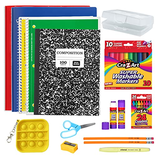 Back to School Elementary Grades Supply Box Kindergarten – 5th School Supply Essentials Plus Gifts Of Joy Fidget Popper Keychain!
