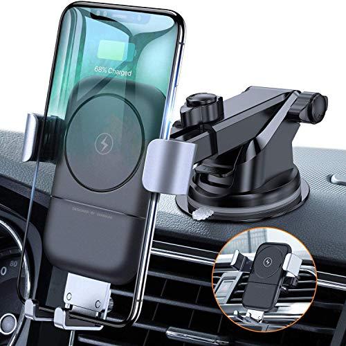 VANMASS Wireless Charger Auto Handyhalterung Automatisch Schwerkraft Qi Ladestation Lüftung & Armaturenbrett Smartphone Halterung Auto Induktives Ladegerät Für iPhone Samsung Huawei LG Xiaomi
