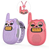 Kids Walkie Talkies Rechargeable 2 Pack, Walkie Talkies for Kids Long Range with Strap, Chargeable Hands Free Walki Talki Toys for Children Birthday/Holiday/Festival Gifts (1Red1Purple)