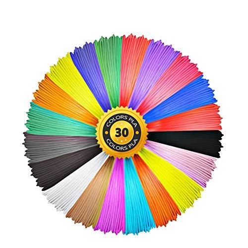 Aishtec Filamento de PLA para 3D Pen 1.75mm, 30 Colores, 10 Feet(3M) Cada Color, Total 300 Feet(90M)
