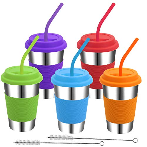 Rommeka Kids Cups with Lids and Straws 5 Pack Stainless Steel Pint Tumblers Eco-Friendly Reusable Drinking Glasses for Adults Children Toddlers Kids - 16oz