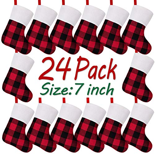 LimBridge Christmas Mini Stockings, 24 Pack 7 inches Buffalo Plaid with Plush Cuff, Classic Stocking Decorations for Whole Family, Red and Black
