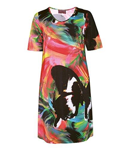 Sempre piu Sommerkleid Damen wadenlang große Größen Grün Bunt Damenkleid Kleid Stretch Kurzarm, Größe:44