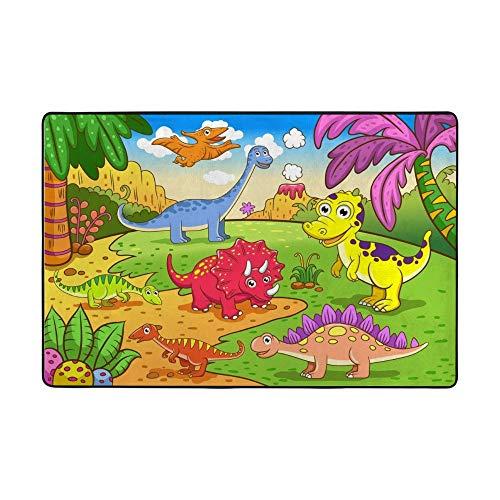 Redecor Alfombra de juego infantil de dinosaurios de dibujos animados para sala de estar o dormitorio, 183 x 122 cm