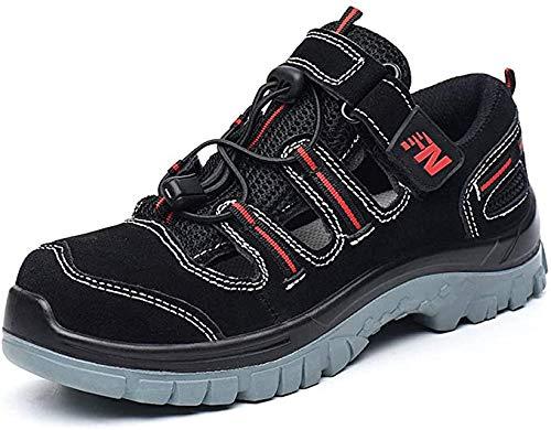 Sicherheit Sandalen Herren Atmungsaktiv Arbeitsschuhe mit Stahlkappe Stahlsohle Anti-Perforations Sportlich Arbeitssandalen Work Footwear,42