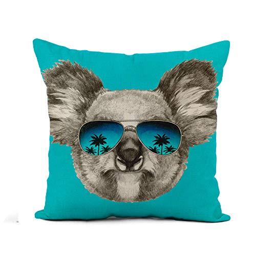 N\A Throw Pillow Cover Bear Retrato de Koala Espejo Gafas de Sol Cabeza de Fiesta Funda de Almohada Divertida Decoración del hogar Funda de Almohada de Lino de algodón Cuadrada Funda de cojín
