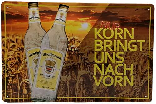 Mehr Relief-Schilder hier... Korn Spirituose Schnaps Strothmann Weizenkorn Werbung Reproduktion Blechschild-Werbung-Reklame-Retro-Marke-Schild-Magnet-Metallschild-Werbeschild-Wandschild