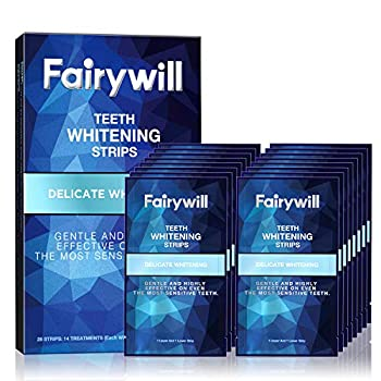 Fairywill Teeth Whitening Strips for Teeth Sensitive - Reduced Sensitivity White Strips for Teeth Whitening Gentle and Safe for Enamel Dental Teeth Whitening Kit Pack of 28 Whitener Strips
