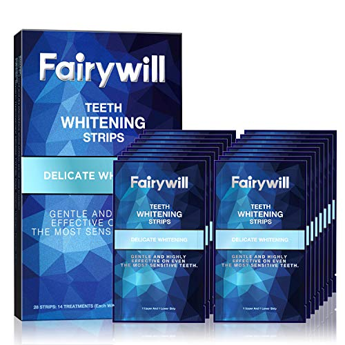 Fairywill Teeth Whitening Strips for Sensitive Teeth - Reduced Sensitivity White Strips, Gentle and Safe for Enamel, Dental 3D Whitestrips Pack of 28 Whitener Strips