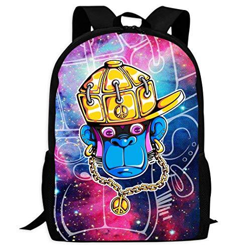 Therwd Childrens Adult Outdoor Sports School Backpack,Cool 3D Print Hip Hop Orangutan,Book Bags Shoulder Bag