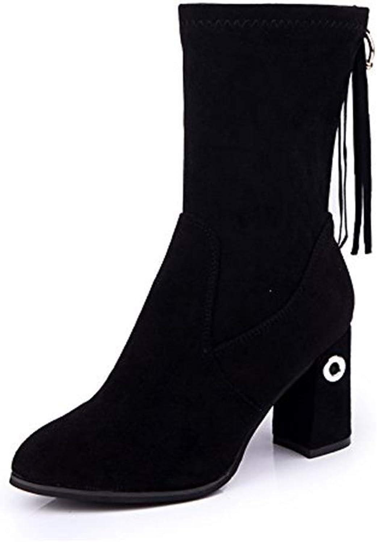 Wadenhohe Stiefel für Damen Chunky Chunky Heel Stretch Stiefel Damen Freizeitstiefel  exklusiv