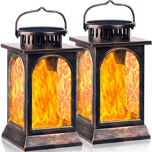 TomCare Solar Lights Flickering Flame Metal Solar Lantern Outdoor Hanging Decorative Lanterns Lighting Heavy Duty Solar Powered Waterproof Umbrella Lights for Patio Garden Deck Yard, 2 Pack (Bronze)