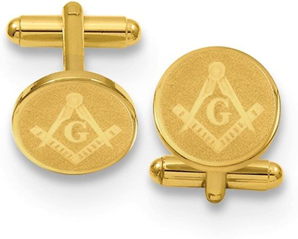 Sonia Jewels Gold-Plated Round Masonic Cufflinks 16mm
