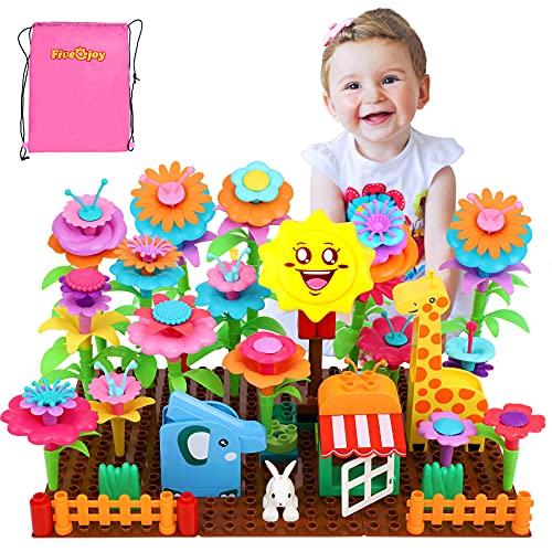 Fivejoy Giocattoli per la costruzione di giardini fioriti con animali, set di giochi per bouquet fai da te da 123 pezzi, set di blocchi per creatività e attività per bambine di 3 anni